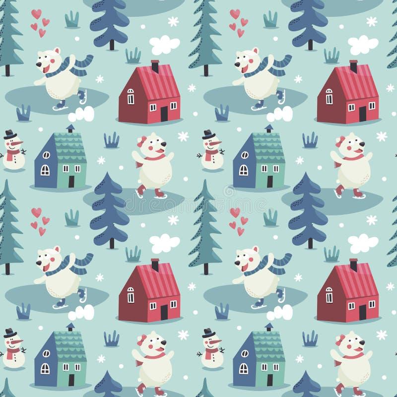 Il modello sveglio senza cuciture dell'inverno con gli orsi pattina, case, il pupazzo di neve, gli alberi, la foresta, il nuovo a royalty illustrazione gratis