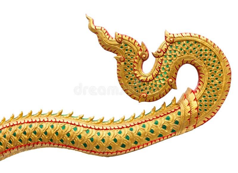 Il modello tailandese tradizionale di stile di grande Naga della traccia stucco il isolat immagine stock