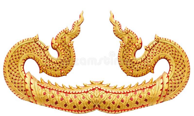Il modello tailandese tradizionale di stile di grande Naga della traccia stucco il isolat fotografia stock