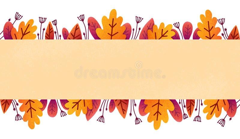 Il modello variopinto dell'insegna di vettore del fogliame di autunno con arancio e la porpora lascia nello stile piano di carta  illustrazione vettoriale