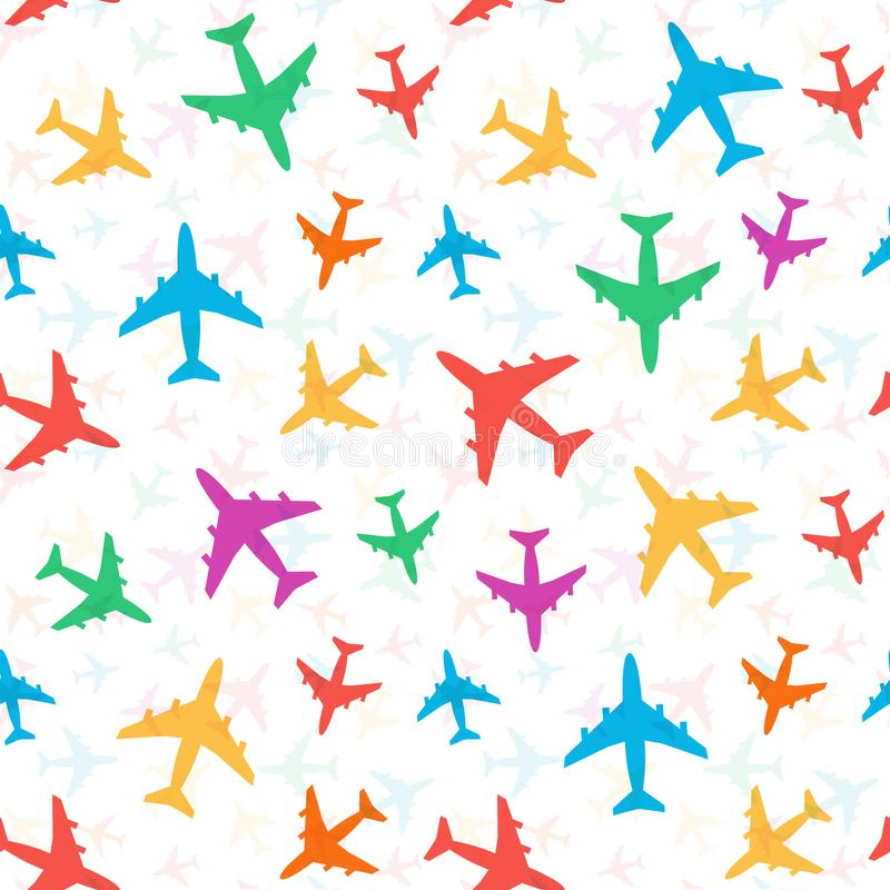 Il modello variopinto luminoso allegro degli aeroplani colorati, casuale sistema Ideale per progettazione di imballaggio, opuscol illustrazione vettoriale