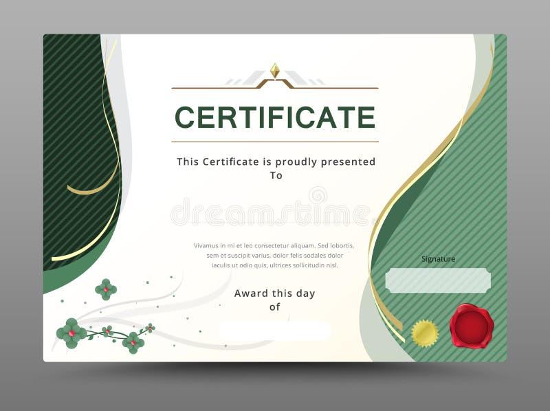 Il modello verde del certificato con il nastro dell'oro decora Ill di vettore