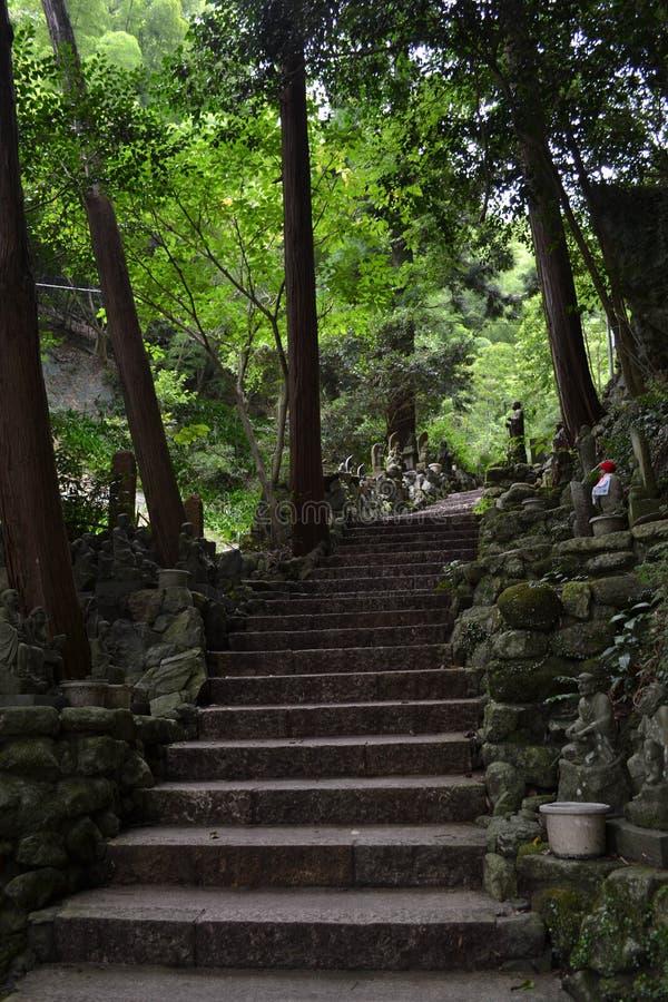 Il modo al giapponese shrine Nanzoin, Giappone Con i molti Buddha immediatamente fotografia stock libera da diritti