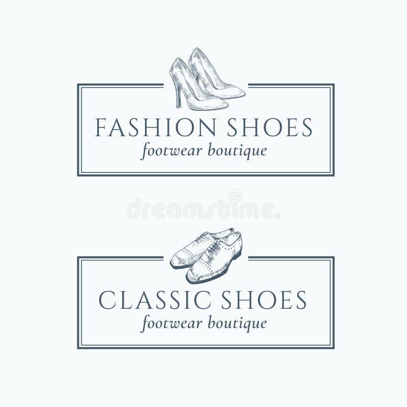 Il modo classico calza i segni di vettore dell'estratto del boutique delle calzature illustrazione di stock