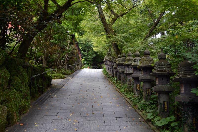 Il modo dell'entrata al giapponese shrine Nanzoin, Giappone Con i molti ` t fotografie stock libere da diritti
