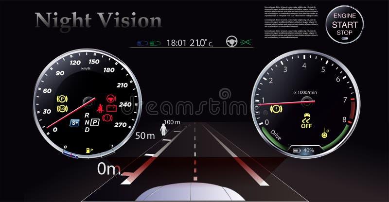 Il modo di visione notturna contro lo sfondo dei fari dell'automobile illustrazione vettoriale