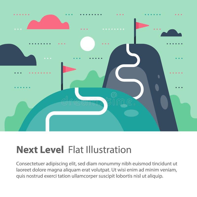 Il modo a successo, concetto livellato seguente, scopo di portata, più su e migliora, motivazione e miglioramento, l'ambizione a  royalty illustrazione gratis
