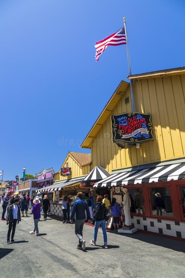Il molo del pescatore, baia di Monterey, penisola, Monterey, oceano Pacifico, California, Stati Uniti d'America, Nord America fotografie stock