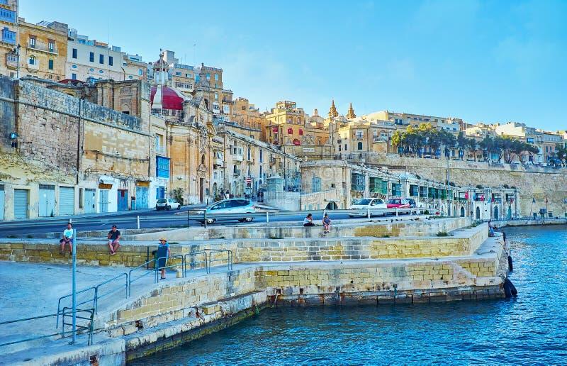 Il molo della cava, La Valletta, Malta fotografie stock libere da diritti