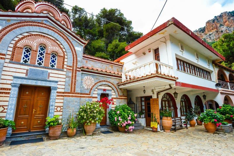 Il monastero Agios Georgios, situato nella gola di Selinari su Creta, la Grecia fotografia stock libera da diritti