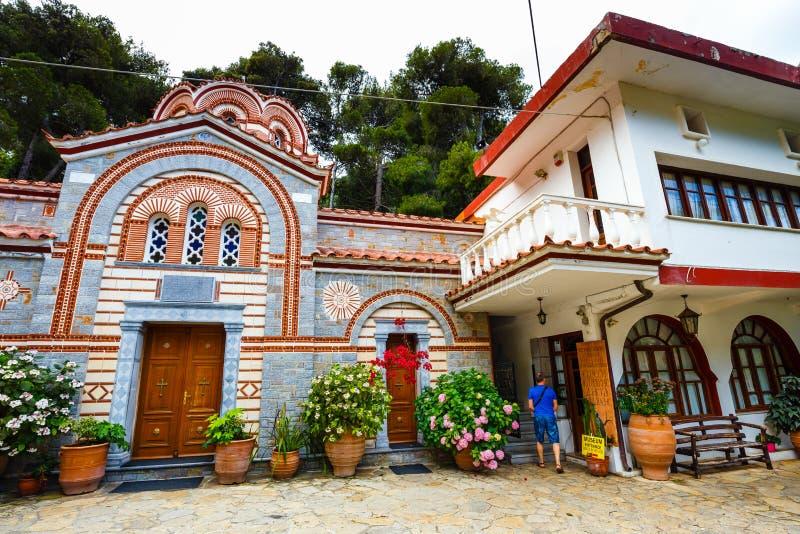 Il monastero Agios Georgios, situato nella gola di Selinari su Creta, la Grecia fotografia stock