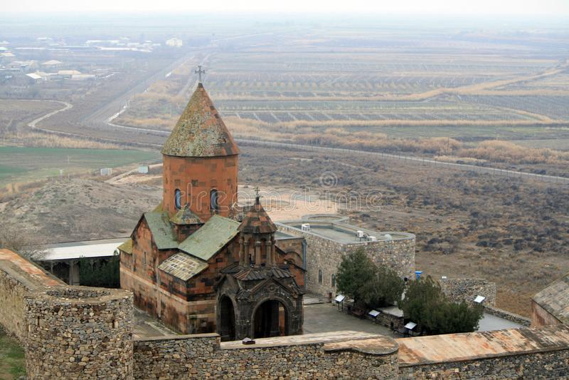 Il monastero antico di Khor Virap in Armenia fotografia stock libera da diritti