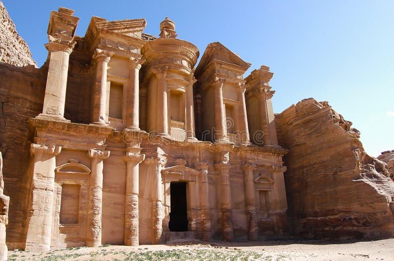 Il monastero - PETRA - la Giordania fotografia stock libera da diritti