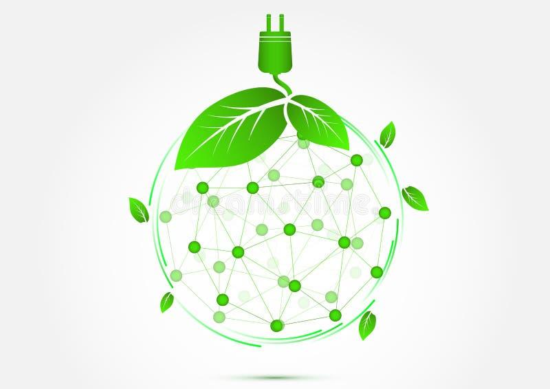 Il mondo di eco dell'ecologia pensa il concetto verde dell'icona illustrazione di stock