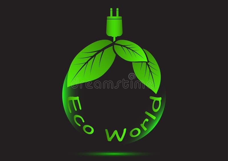 Il mondo di eco dell'ecologia pensa il concetto verde dell'icona illustrazione vettoriale