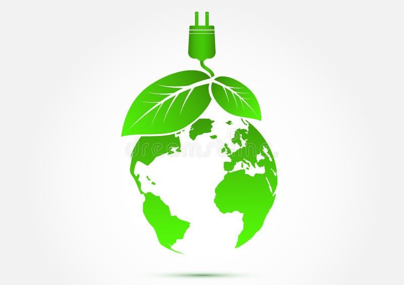 Il mondo di eco dell'ecologia pensa il concetto verde dell'icona royalty illustrazione gratis
