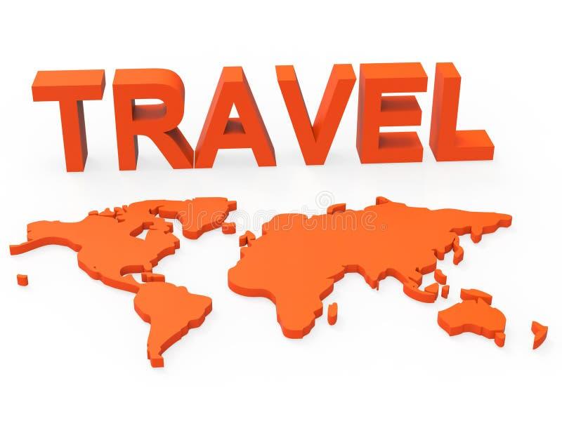 Il mondo di viaggio indica la globalizzazione terrena e la visita illustrazione vettoriale