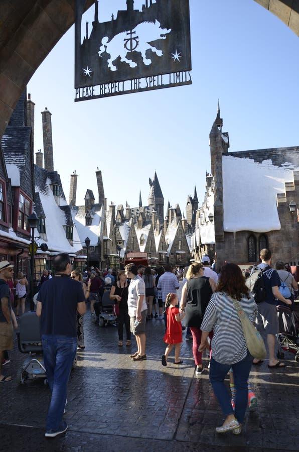 Il mondo di Wizarding di Harry Potter Hogsmeade fotografie stock