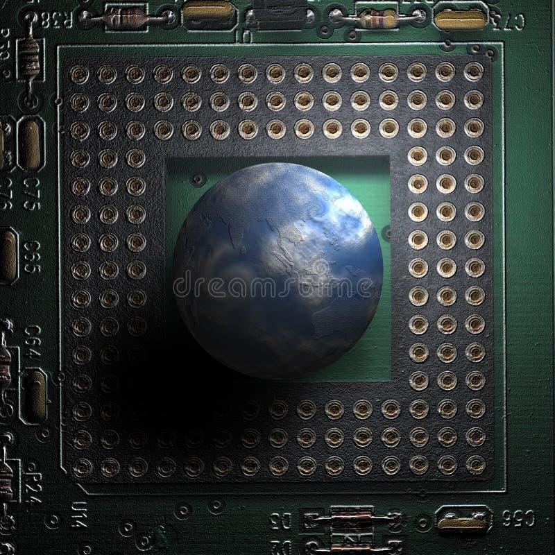 Il mondo ed il calcolatore immagini stock