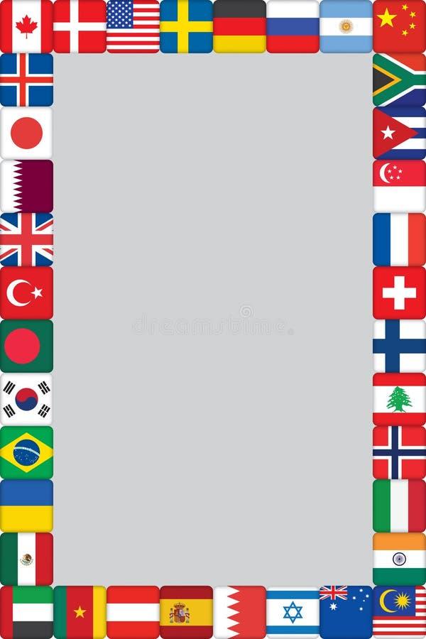 Il mondo inbandiera il blocco per grafici delle icone illustrazione vettoriale