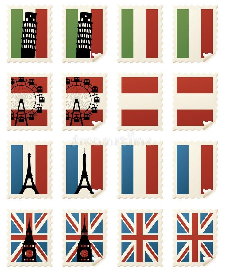 Il mondo timbra Europa royalty illustrazione gratis