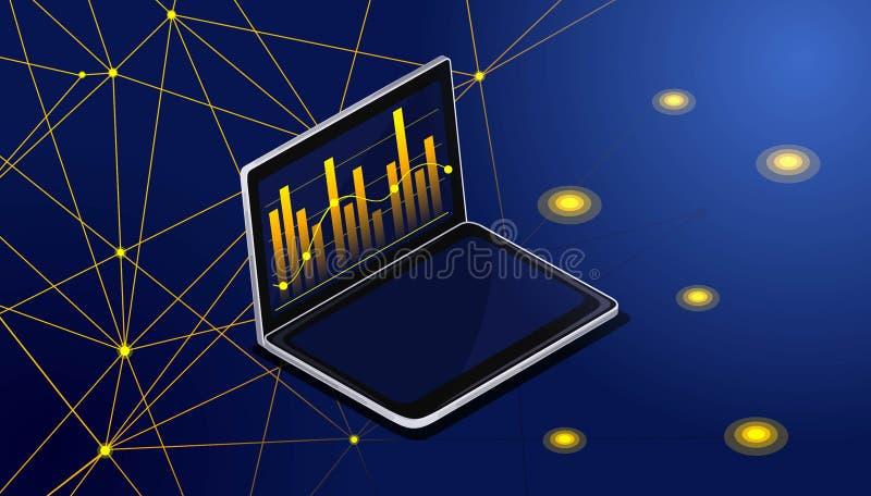 Il monitor isometrico del computer portatile visualizza l'analisi di statistiche basata sui diagrammi e sui grafici Analisi dei g illustrazione vettoriale