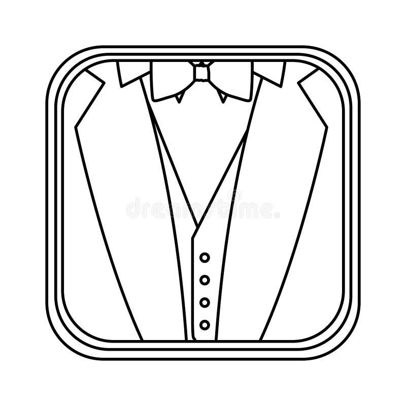 il monocromio ha arrotondato il quadrato con fondo del vestito convenzionale illustrazione di stock