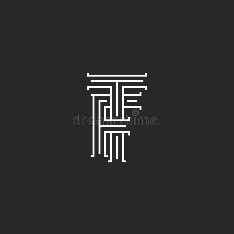Il monogramma di logo delle lettere di TF di iniziali, la linea l'emblema piano calligrafico il FT, combinazione dell'hotel dell' royalty illustrazione gratis