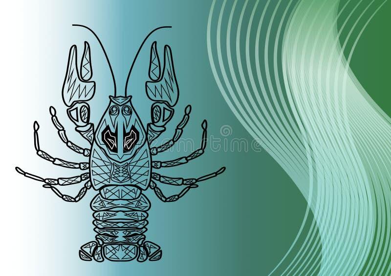 Il monoline del Cancro che attinge la laguna del mare ha colorato il fondo con le onde royalty illustrazione gratis