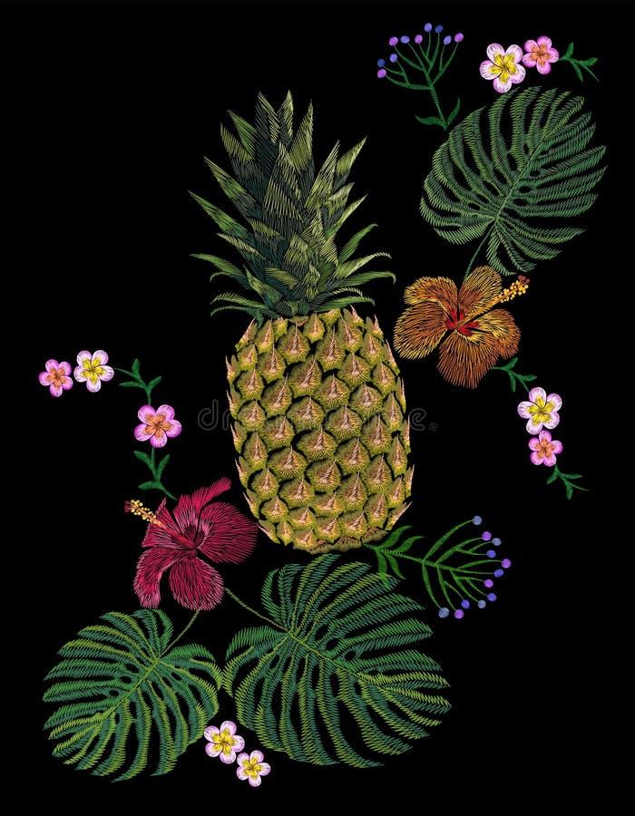 Il monstera giallo esotico ricamato della frutta dell'ananas lascia il fiore dell'ibisco illustrazione vettoriale