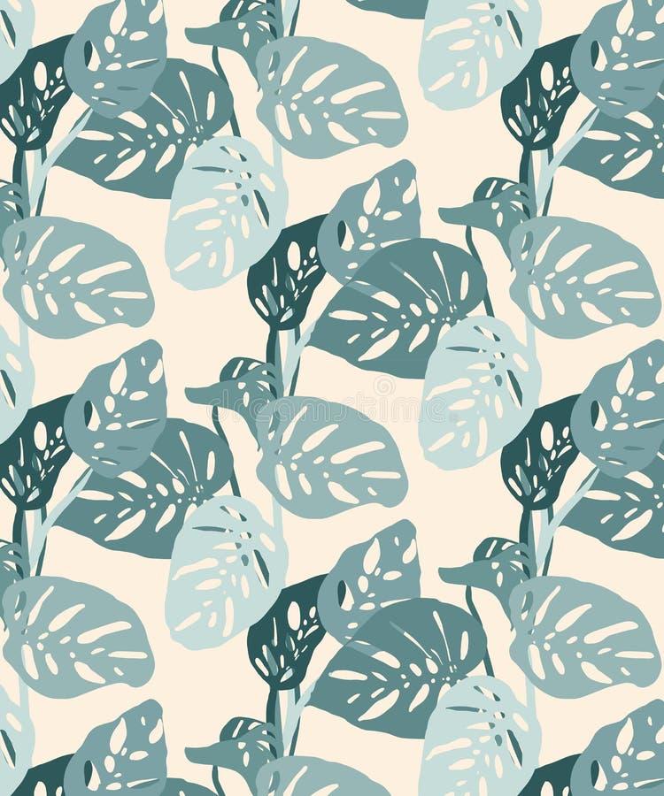 Il monstera senza cuciture lascia il modello, l'umore della giungla nei toni pastelli luminosi illustrazione di stock