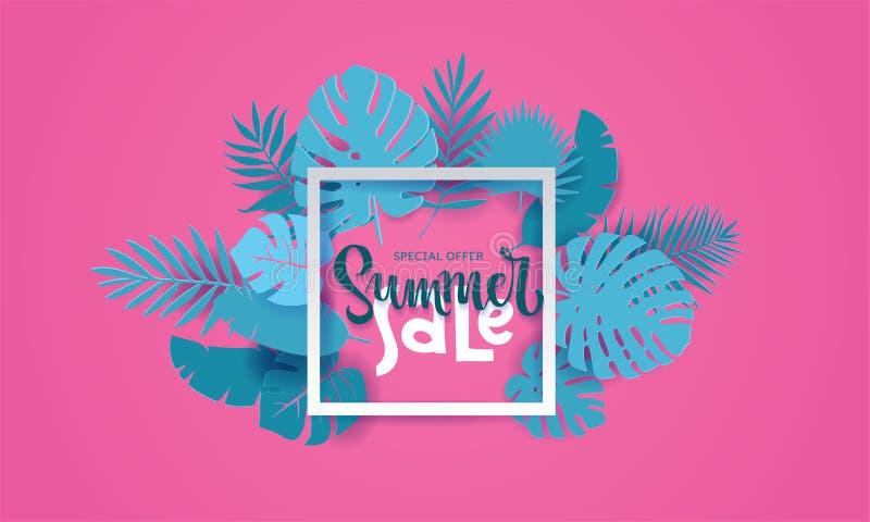 Il monstera tropicale della palma dell'estate orizzontale lascia nello stile tagliato di carta trandy La struttura quadrata bianc royalty illustrazione gratis