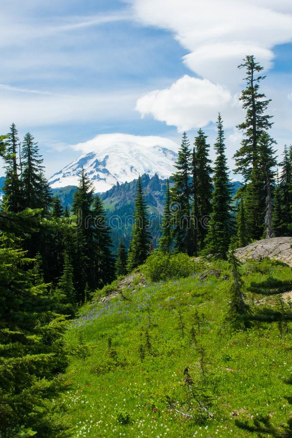 Il monte Rainier sotto le nuvole gonfie immagini stock