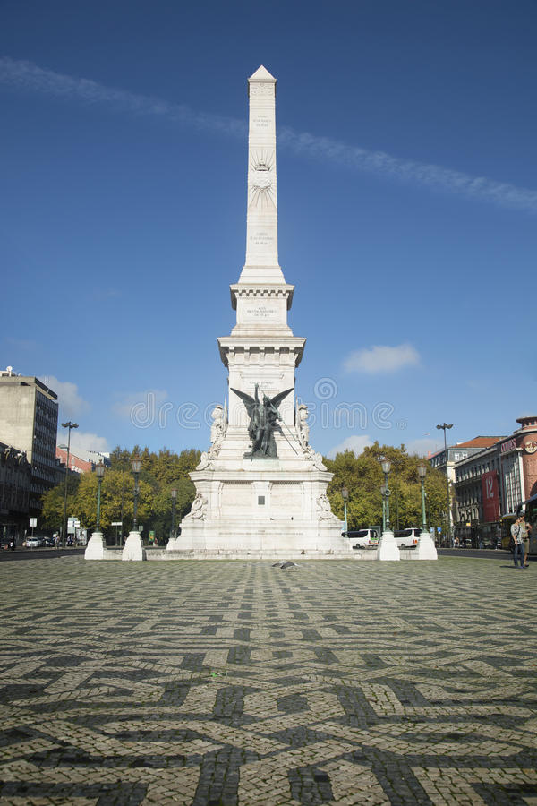 Il monumento ai restauratori, Lisbona, Portogallo fotografia stock libera da diritti