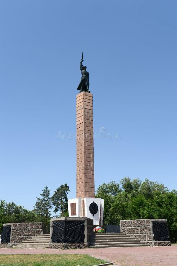 Il monumento ai soldati della decima divisione del NKVD è morto nella difesa di Stalingrad immagini stock libere da diritti