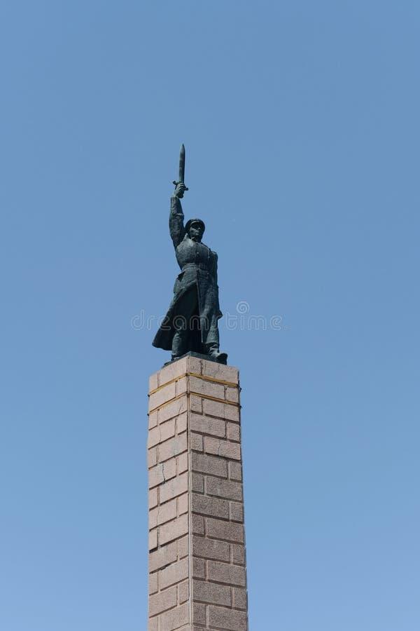 Il monumento ai soldati della decima divisione del NKVD è morto nella difesa di Stalingrad fotografia stock