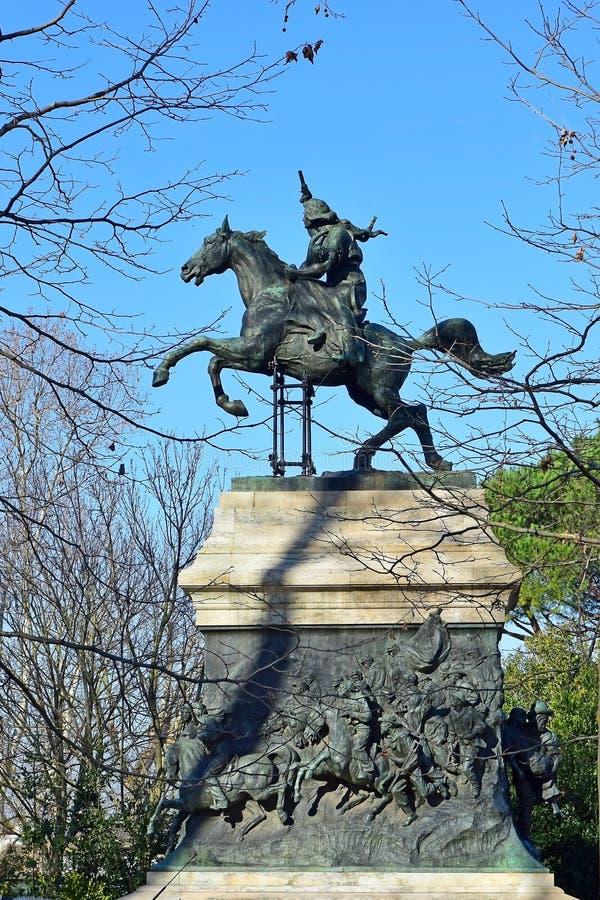Il monumento di Anita Garibaldi, era moglie di Giuseppe Garibaldi rivoluzionario, Roma immagini stock
