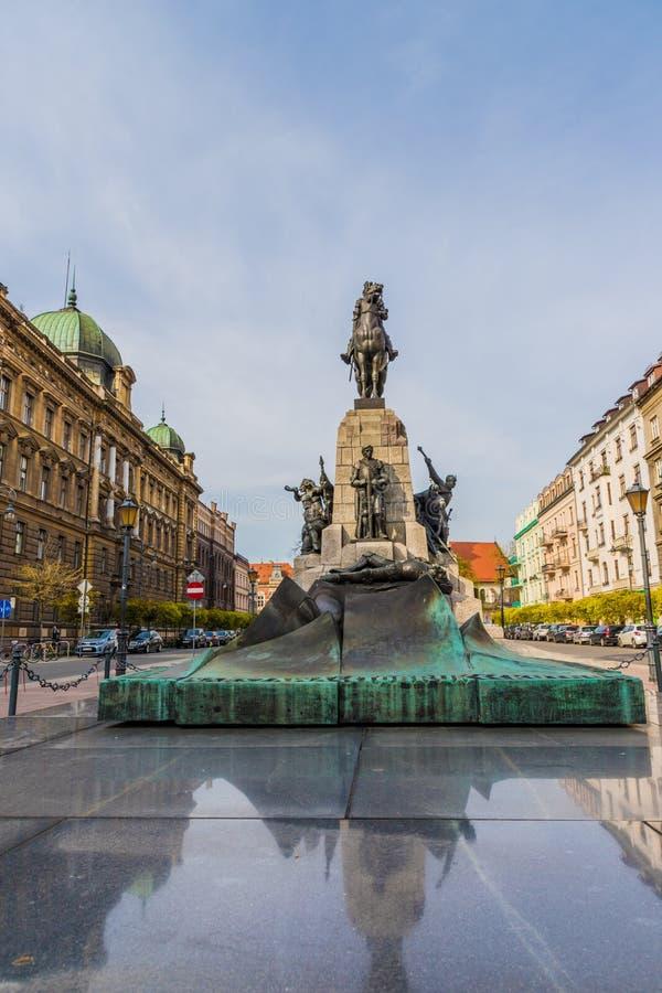 Il monumento di Grunwald a Cracovia Polonia fotografie stock