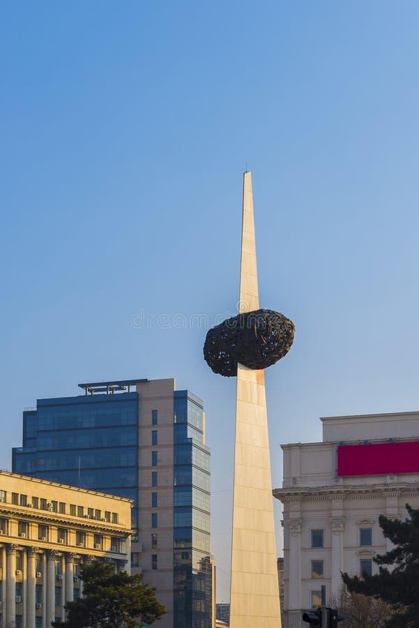 Il monumento di rinato nel quadrato di rivoluzione, Bucarest immagini stock libere da diritti