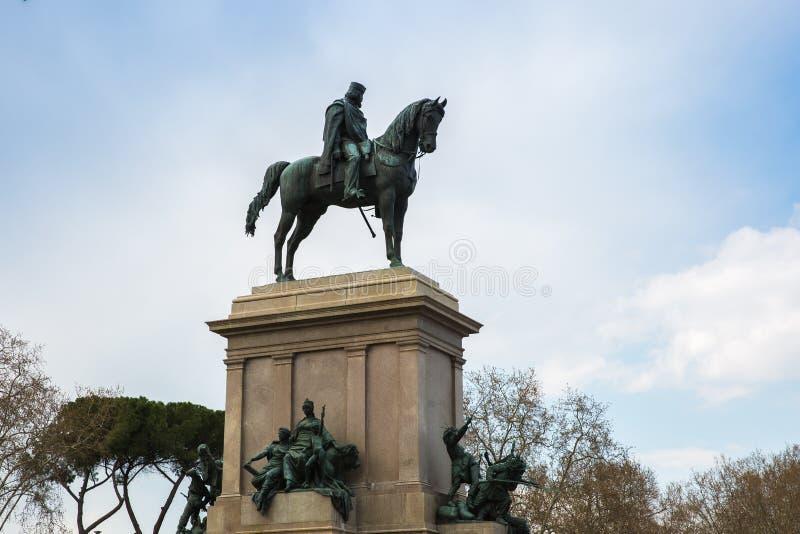 Il monumento equestre dedicato a Giuseppe a Roma, Italia immagini stock libere da diritti