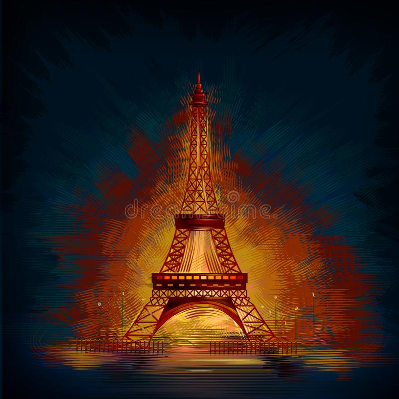Il monumento storico di fama mondiale della torre Eiffel di Parigi, Francia illustrazione vettoriale