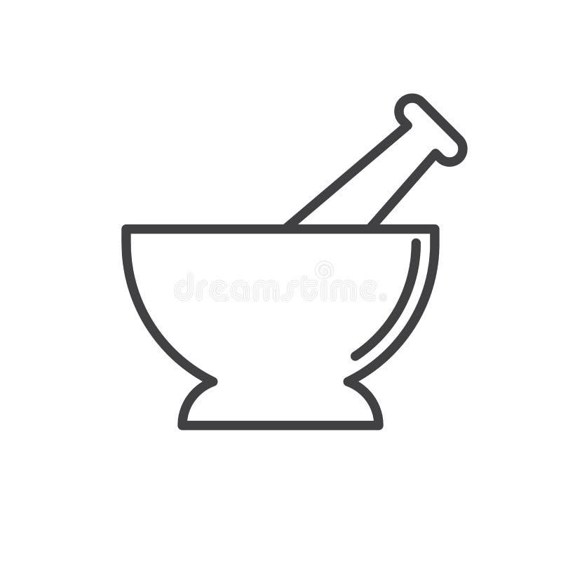 Il mortaio ed il pestello allineano l'icona, segno di vettore del profilo, pittogramma lineare di stile isolato su bianco illustrazione vettoriale