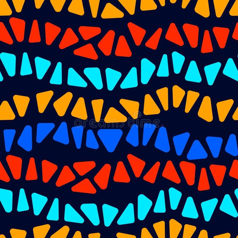 Il mosaico variopinto di forma del triangolo del vetro macchiato barra il modello senza cuciture geometrico, vettore illustrazione di stock