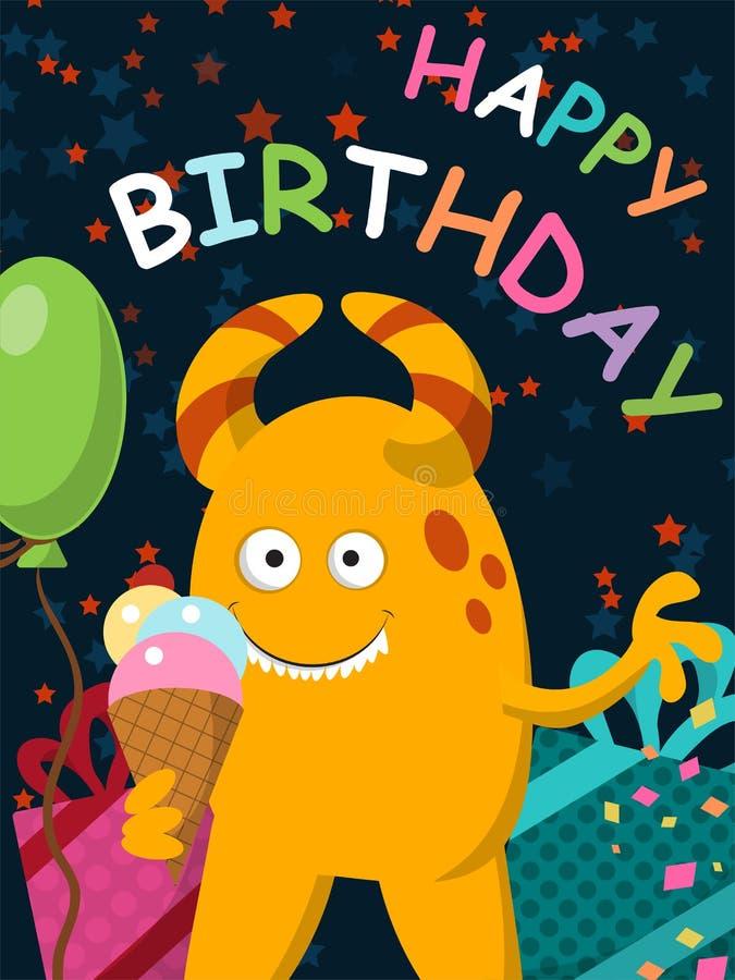 Il mostro giallo divertente con il gelato celebra il suo compleanno cartolina illustrazione vettoriale