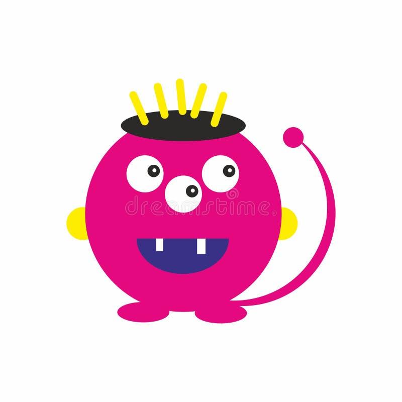 Il mostro rosa di divertimento scherza il vettore amichevole dell'illustrazione dell'icona illustrazione di stock