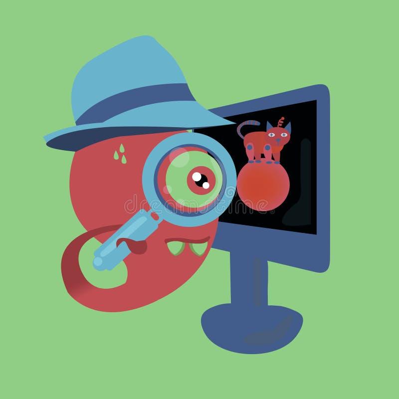 il mostro rosa tiene una lente d'ingrandimento nella coda e gli sguardi attraverso al manitor royalty illustrazione gratis