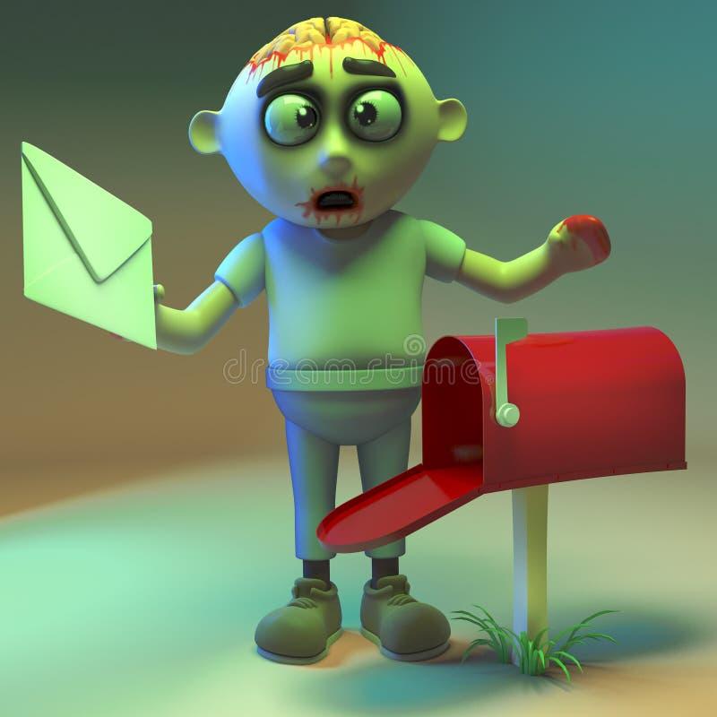 Il mostro sciocco dello zombie controlla la sua cassetta delle lettere, l'illustrazione 3d illustrazione di stock