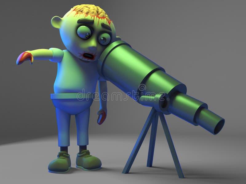 Il mostro sciocco dello zombie pensa che la luna sia diretto molto piccolo il suo nuovo telescopio, l'illustrazione 3d illustrazione vettoriale