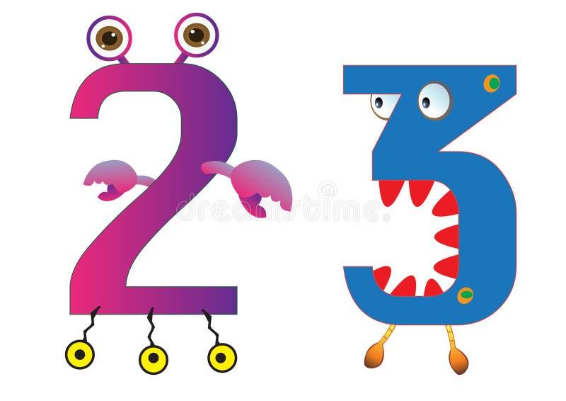 Il mostro sveglio numera 2 e 3 per i bambini ed i bambini illustrazione vettoriale