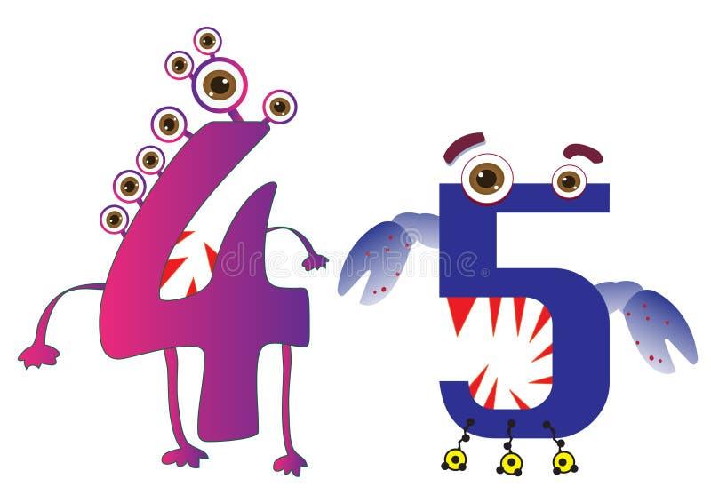 Il mostro sveglio numera 4 e 5 per i bambini ed i bambini royalty illustrazione gratis